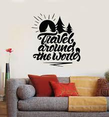 Vinyl Wall Decal Words Travel Around The World Adventure Stickers Mural G1841 Ebay
