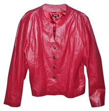 metro style red leather jacket size 20