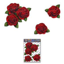 Jas Stickers Rose Flower Car Sticker Red Small Vinyl Decal Pack F Giftenza