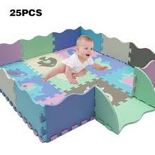 Rstant Baby Puzzle Mats Foam Play Mat With Fence 23pcs Foam Floor Tiles Interlocking Crawling Mat
