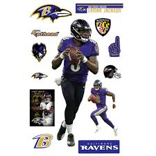 Lamar Jackson Baltimore Ravens Fathead 13 Pack Life Size Removable Wall Decal Walmart Com Walmart Com