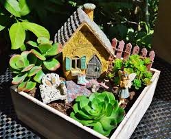 miniature fairy garden cottage planter
