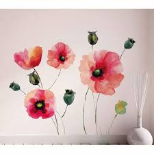 Watercolor Poppies Home D Cor Line Wall Decals