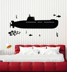 Vinyl Wall Decal Submarine Sea Ship Style Undersea Fishes Stickers Mur Wallstickers4you