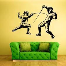 Amazon Com Stickersforlife Fencing Wall Sticker Fencing Wall Decals Fencing Wall Decor Fencing Wall Art Swordplay Wall Decal Swordplay Wall Sticker Z568 Home Kitchen