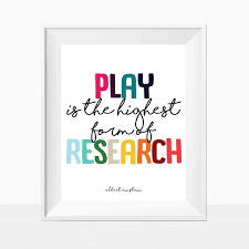 Printable Kid S Room Quote Play Is The Highest Form Of Research Rainbow Wall Art Colorful Home Dec Kids Room Quotes Rainbow Wall Art Kids Room Printables