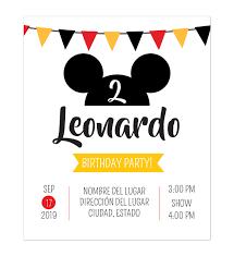 Invitacion Cumpleanos Mickey Fiesta Disenos Personalizados