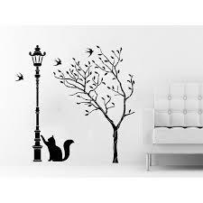 Shop Tree Wall Decals Street Lamp Cat Kitten Decal Vinyl Sticker Baby Children Nursery Bedroom Sticker Decal Size 33x33 Color Black Overstock 14158207
