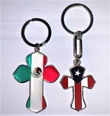 Mexi Rican Cross Flag Keychain Puerto Rican Pride