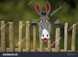 Cardboard Donkey Behind Fence Feel Like Stock Photo Edit Now 1404700556