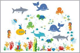 Ocean Wall Decals Wall Stickers Nursery Marine Life Fish Shark Nurserydecals4you