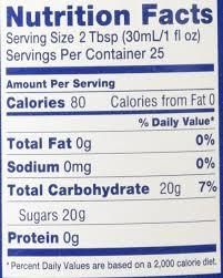 calories in torani vanilla syrup 1 pump