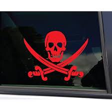 Amazon Com Nashville Decals Pirate Skull And Swords Vinyl Decal Laptop Car Truck Bumper Window Sticker 5 5 X 4 25 Red Automotive