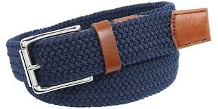 men s woven leather belts navy blue