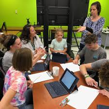 """Genesee Valley Central School on Twitter: """"PBIS rep Brooke Bradt and PBIS  student design winner Ada Griffin meet with the JagDesign Co. design team  to bring Ada's shirt design to life. Customer"""