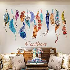 Kaimao Colorful Creative Dream Catcher Feathers Wall Stickers Art Decal Murals Removable Wallpapers For Home Decoration Amazon Com