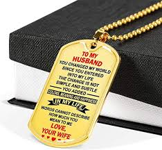com wife to my husband dog tag necklace gold happiness