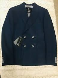 blue wool double ted blazer jacket