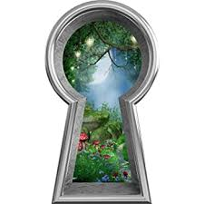 Amazon Com 12 Silver Keyhole 3d Window Wall Decal Enchanted Lantern Forest Alice In Wonderland Kids Room Decor Fantasy Mushroom Fairy Tale Removable Vinyl Wall Sticker 12 Tall X 6 8 Wide Home