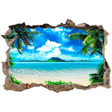 Wall Sticker Hole Caribbean Beach Muraldecal Com