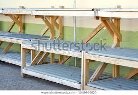empty outdoor market display shelves