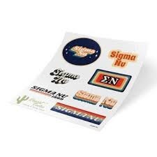 Sigma Nu Stickers Decals Greek Gear
