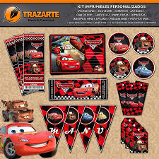 Kit Imprimible Cars Rayo Mate Autos Personalizado Candy Bar