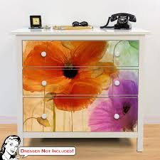 Penchant For Poppies Ii Ikea Hemnes Dresser Graphic Decal Hack At Retro Planet