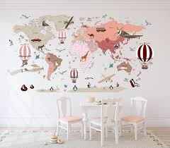 Pink Airplane World Map Decal Clear Vinyl Decal Girls Room Decals Walls2lifedecals