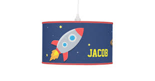 Colourful Rocket Ship Outer Space Kids Room Lamp Zazzle Com