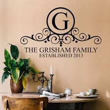 Custom Wall Decal Family Monogram Personalized Lettering
