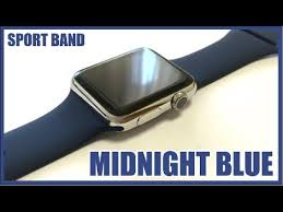 midnight blue sport band on stainless
