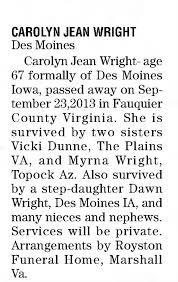 Obituary for Carolyn Jean Wright (Aged 67) - Newspapers.com