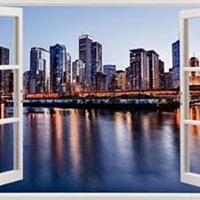 Chicago Skyline View Urban City Scape From Amazon Stickers By
