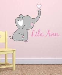Lollipop Walls Gray Pink Elephant Personalized Wall Decal Elephant Wall Decal Nursery Elephant Decal Nursery Elephant Wall Decals