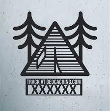 Geocaching Trackable Tent Window Decal