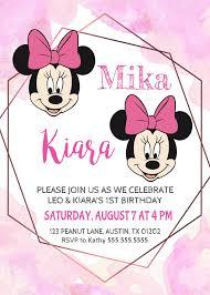 Minnie Mouse Twin Girls Birthday Invitation Minnie Girl Invite