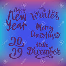 winter vector illustration set handwritten modern lettering