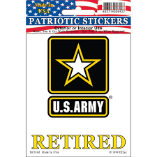 United States Army Star Logo Retired Car Decal 3 1 2 By 4 Inches