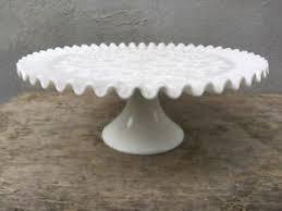 fenton cake stand white milk glass