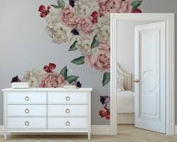 White Pink Peony Florals With Red Purple Tulips Wall Decal Sticker Wall Decals Wallmur