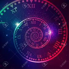 Concept Of Space Of Time In The Universe, Spiral Clock With Galaxy..  Royalty Free Cliparts, Vectors, And Stock Illustration. Image 123516960.