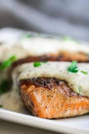 savory salmon with tangy horseradish