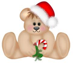 Image of a teddy bear wearing a Santa Claus hat and holding a Christmas cane