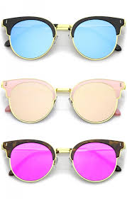 colored mirror flat lens horn rimmed