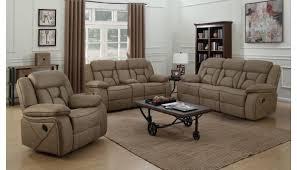 troy tan suede modern recliner sofa