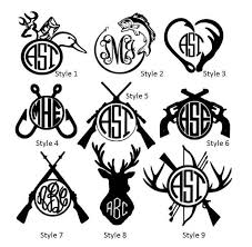 Hunting Fishing Monogram Vinyl Decals Woman Hunter Girl Etsy Fishing Monogram Monogram Vinyl Decal Diy Gifts For Men