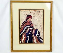 Vintage Dolores Smith Native American Indian Art Batik Print ...