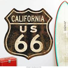 Route 66 California Distressed Wall Decal At Retro Planet