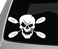 Amazon Com Seek Racing Kayak Skull Decal Car Truck Window Bumper Sticker River Outdoors Kayaking Automotive